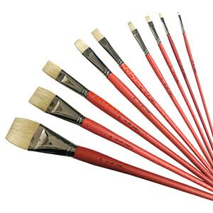 9pc Interlocked Chunking Flat Paint Brushes Pro Hart Swagger