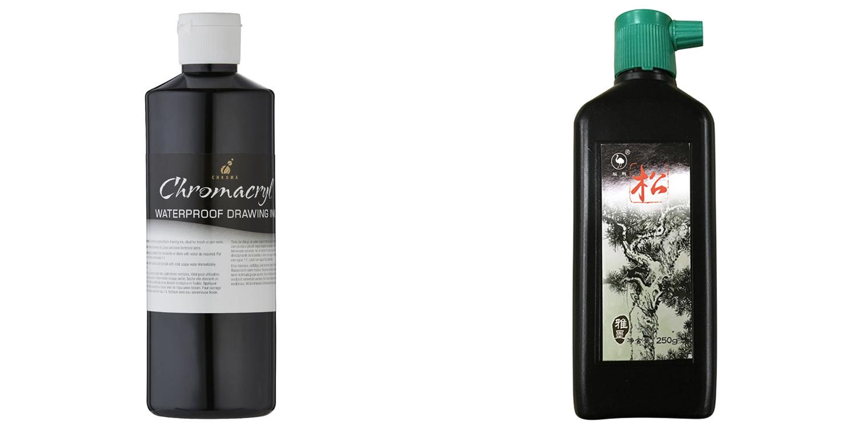 Art ink Chromacryl and Sumi ink